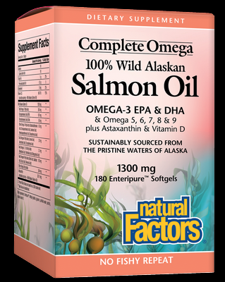 Wild Alaskan Salmon Oil (1300 mg 180 softgels)* Natural Factors