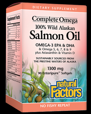 Wild Alaskan Salmon Oil (1300mg 90 softgels )* Natural Factors
