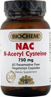 Biochem NAC (N-Acetyl-Cysteine) 750 mg (60 Caps) Country Life