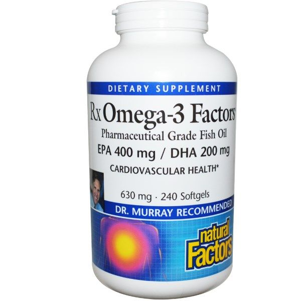 RxOmega-3 Factors EPA 400 mg/DHA 200 mg (240 softgels)* Natural Factors