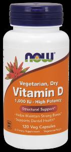Vitamin D-1000 IU Dry Vegetarian (120 Vcaps) NOW Foods