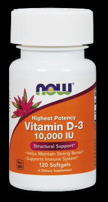 Vitamin D3 High Potency (10000iu | 120 softgels) NOW Foods