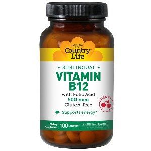 Vitamin B-12 Cherry Flavor ( 500mcg 100 lozenges) Country Life