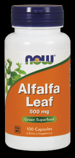 Alfalfa Leaf 500 mg (100 Caps (Organic, Non-GMO NOW Foods