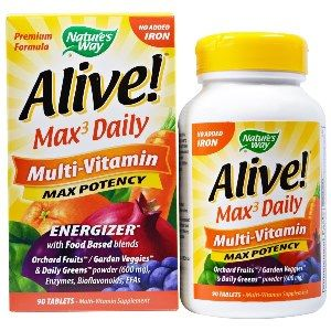 Alive! Max 3 Daily Whole Food (no iron added)  ( 90 tablets ) Nature's Way