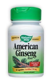 American Ginseng Root (50 caps, 550 mg) Nature's Way