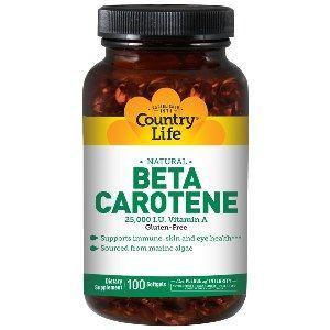 Natural Beta Carotene Caps (25,000 IU 100 Softgel) Country Life