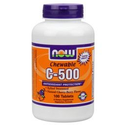 Vitamin C-500 Chewable (Cherry flavor 100 Lozenges) NOW Foods