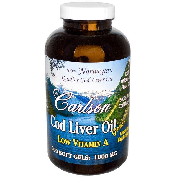 Cod Liver Oil | Low Vitamin A (1000mg - 300 soft gels) Carlson Labs
