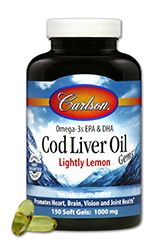 Lightly Lemon Norwegian Cod Liver Oil (1000 mg 150 soft gels) Carlson Labs
