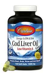 Cod Liver Oil | Low Vitamin A (1000mg - 150 soft gels) Carlson Labs