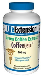 CoffeeGenic Green Coffee Extract (200 mg 90 Vcaps)* Life Extension