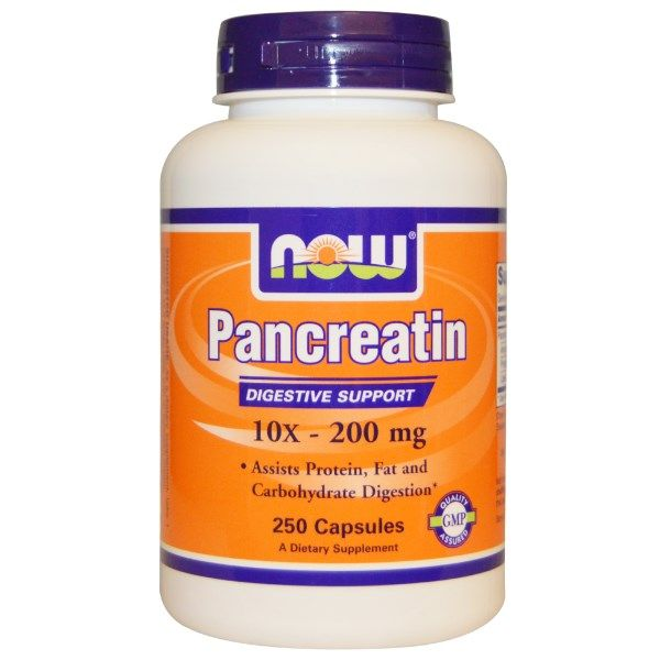 Pancreatin 10X 200 (250 Caps 2000 mg) NOW Foods