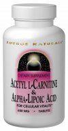 Acetyl L Carnitine & Alpha Lipoic Acid (120 Tablets) Source Naturals