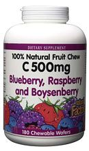 Vitamin C 500mg Fruit Chews Berry (180 Tabs)* Natural Factors