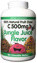Vitamin C 500mg Fruit Chews Jungle Juice (180 Tabs)* Natural Factors