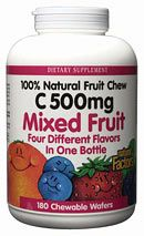 Vitamin C 500mg Fruit Chews Mixed Fruit (180 Tabs)* Natural Factors