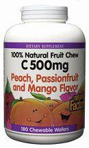 Vitamin C 500mg Fruit Chews Peach (180 Tabs)* Natural Factors