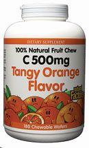 Vitamin C 500mg Fruit Chews Orange (180 Tabs)* Natural Factors