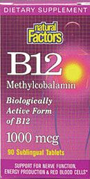 Vitamin B12 Methylcobalamin 1000mcg (90 Tabs)* Natural Factors
