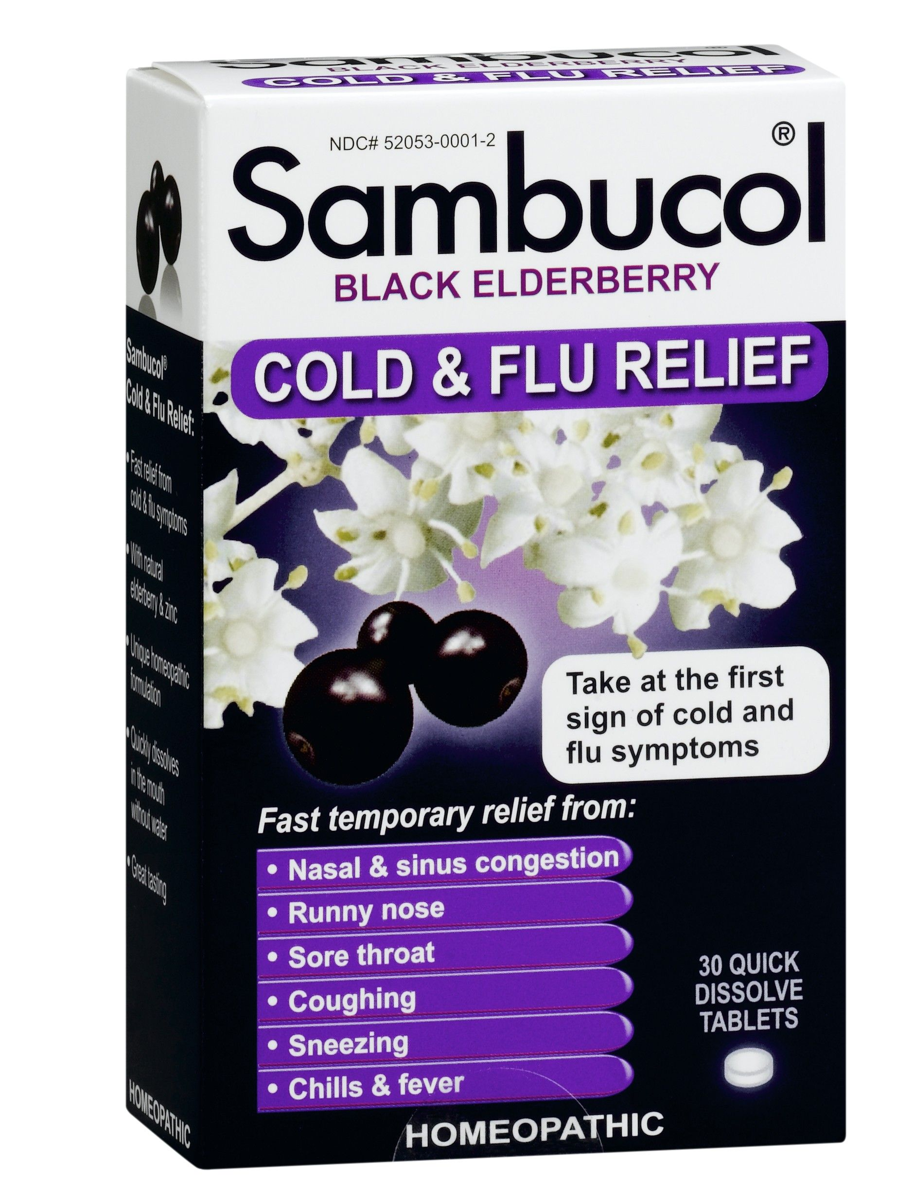 Black Elderberry Cold & Flu Relief (30 tablets) Sambucol