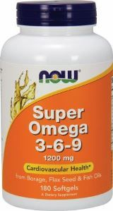 Super Omega 3-6-9 (180 softgels 1200  mg) NOW Foods
