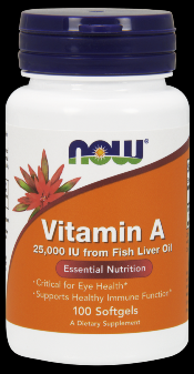 Vitamin A 25,000 IU (100 Softgels) NOW Foods