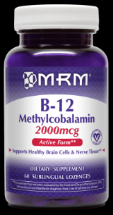 Vitamin B-12 Methylcobalamine with Folic Acid  (60 sub-lingual lozenges) Metabolic Response Modifiers