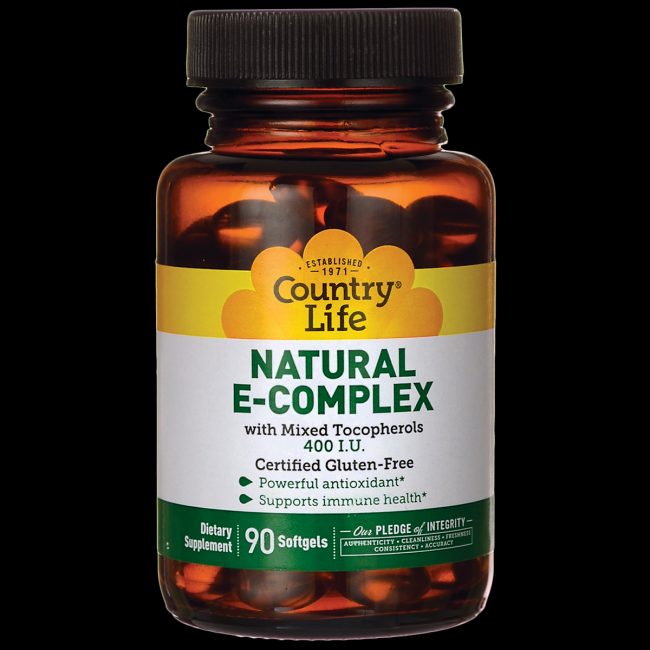Natural Vitamin E Complex 400IU (90 softgels) Country Life