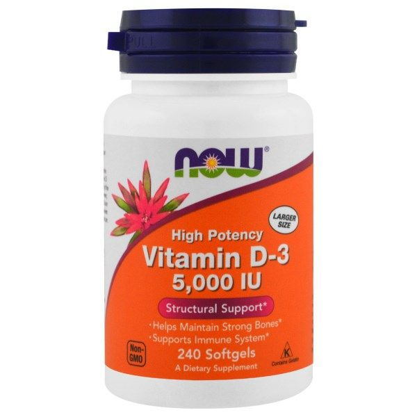 Vitamin D3 -Olive Oil Base (240 softgels  5000 IU) NOW Foods