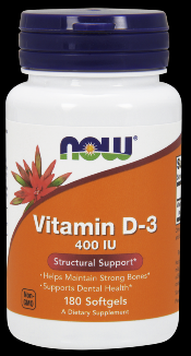 Vitamin D-3 400 IU (180 Softgels) NOW Foods