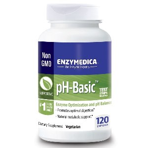 pH-Basic contains a synergistic blend of minerals, enzymes, superfoods, and herbs in an enteric coated capsule designed to bypass the acid environment of the stomach and balance alkaline levels..