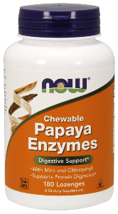 NOW Papaya Enzyme lozenges have a refreshing taste and support digestion when taken after meals. Papaya enzymes help reduce symptoms of poor digestion and increase healthy digestion..