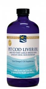 Pet Cod Liver Oil from Nordic Naturals will give your dog, or cat  healthier  looking fur and skin..