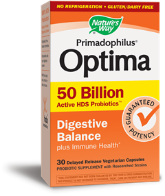 Primodophilus Optima Digestive Balance delivers active HDS (Human Digestive Strains) Probiotics in a delayed release vegetarian capsule. Shelf stable / no refrigeration required..