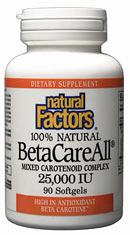 Natural Factors BetaCareAll is packed full of health-promoting Carotenoids. Carotenoids are potent antioxidants and can be found in fruits and vegetables. These antioxidants help protect the body's cells again dangerous free radicals that can cause cellular deterioration, which can increase the risk of cancer, cardiovascular disease, and other age-related illnesses..