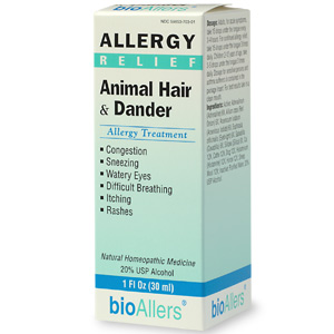 BioAllers Homeopathic Animal Hair & Dander Allergy Treatment. Relief for itchy, watery eyes, sneezing and runny nose. This homeopathic all natural formula may be just what you need to keep your allergies in check and love that pet at the same time! Non-drowsy..