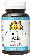 Natural Factors Alpha-Lipoic Acid is a valuable antioxidant that helps protect the body against damaging free-radicals. Unlike other antioxidants, Alpha-Lipoic Acid is both water and fat soluble, enabling it to quench free-radicals both inside the cells and outside in intracellular spaces..