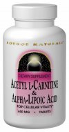 Source Naturals Acetyl L-Carnitine & Alpha Lipoic Acid is a valuable source of antioxidant protection. It works to protect the cells against free radicals that cause cellular deterioration. It promotes cellular vitality and reduces the effects of aging..