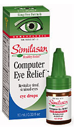 Computer eyes provides natural relief for eye strain from computer and television viewing. Give your tired aching eyes a break with all natural homeopathic drops..