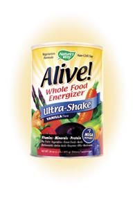 Alive! Ultra Shake is the ultimate nutritional energy source. It's also a comprehensive, whole food multi-vitamin with the added benefit of Solae soy protein..