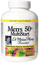 Natural Factors Men's 50+ MultiStart Multiple provides a complete spectrum of vitamins, minerals, lipotropic factors and herbs to support men's various life changes. Including Saw Palmetto for prostate support..