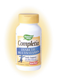 Nature's Way Completia Diabetic Multivitamin, daily support with alpha-lipoic acid, fenugreek, and GTF chromium..