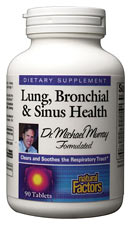 Natural Factors Lung, Bronchial & Sinus Health is a Dr. Michael Murray formulated supplement to clear and soothe the respiratory tract..