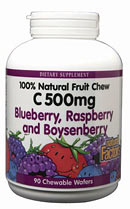 Natural Factors C 500 Fruit Chews is 100% natural way to get your Vitamin C. It comes in 3 delicious berry flavors: blueberry, boysenberry, and raspberry..