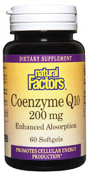 Natural Factors Coenzyme Q10 is essential for cellular energy production. It is an antioxidant which scavenges free radicals throughout the body and is also involved in maintaining normal heart function..