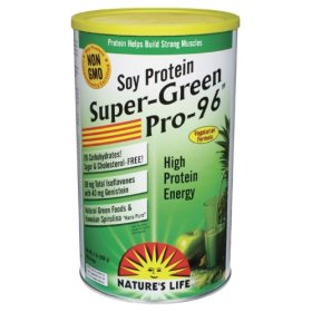 Nature's Life Non-GMO Super-Green Pro 96 high protein energy drink contains bone-strengthening and muscle-building amino acids and omega-3 fatty acids with a green foods blend. Excellent for those seeking a quick and easy source of energy..