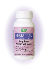 Femaprin is the most widely used supplement for balancing a woman's monthly cycle and for the avoidance of periodic discomforts. Trusted for over 40 years by European health practitioners, Femaprin's unique formula combines clinically proven standardized Vitex (ChasteTree) extract with Vitamin B-6 to help alleviate the bloating, breast tenderness and mood changes..