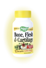 Nature's Way Bone, Flesh & Cartilage is an herbal formula that helps support healthy flesh, bone and cartilage..