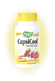 Nature's Way CapsiCool Controlled Heat Herbal Formula brings you the benefits of Cayenne without the burning or discomfort when swallowed..